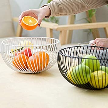 for Living Room Round Fruit Dish,with Modern Styling Kitchen Counter Decorative Countertop Centerpiece Metal Wire Kitchen countertop Fruit Basket Bowl,Fruit Basket Black