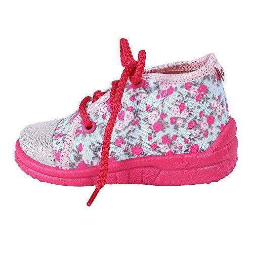 Lemigo GABI 006 leichte und bequeme Mädchen Hausschuhe Kinderschuhe Freizeitschuhe in verschiedenen Farben und Größen, Größe:23, Farbe:Flowers / Pink