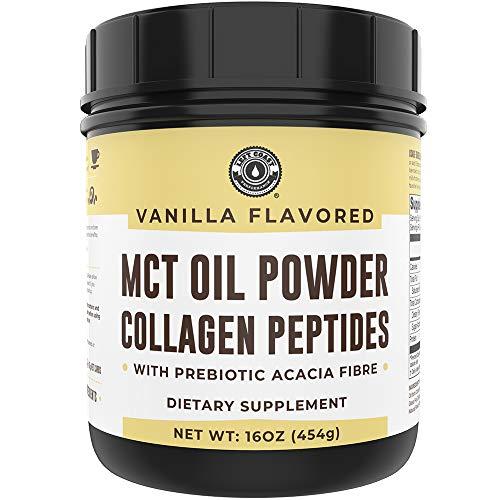 Keto MCT Powder + Collagen + Prebiotic Acacia Fibre, Vanilla, 16oz. MCT Creamer. MCT Oil Powder from Coconuts. MCT Collagen Powder, Grass Fed, Perfect for Keto, 0 Net Carb, Stevia, Erythritol