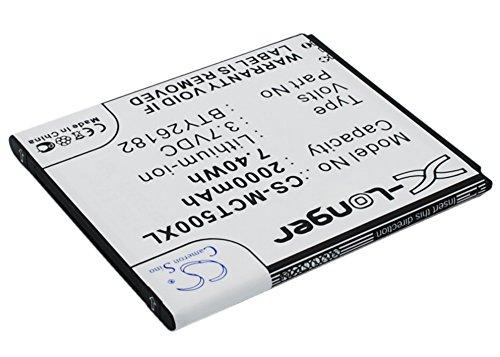 CS-MCT500XL Akku 2000mAh Kompatibel mit [MOBISTEL] Cynus T5, MT-9201b, MT-9201S, MT-9201w Ersetzt BTY26182, BTY26182Mobistel/STD