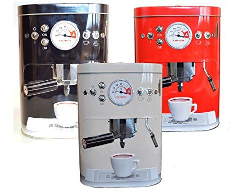 Vorratsdosen Kaffeedose geprägte Blechdose im Espressomaschinen Design Vintage (Rot)