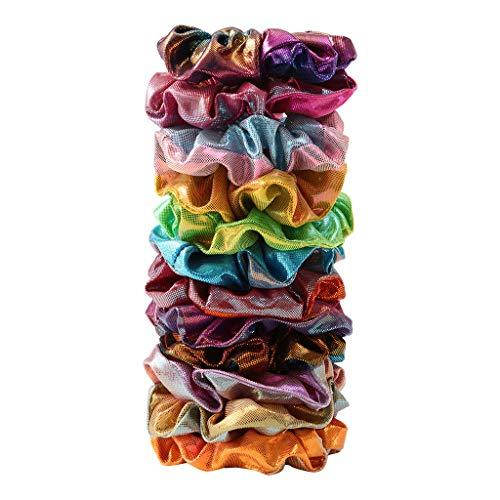 HULKY 12 Pcs Cheveux Velours Élastique Chouchous, Multicolore Bandeaux Liens Cordes Queue De Cheval Porte Accessoires Lastiques À No Crease Épais Brillants Métalliques Grands Chouchou