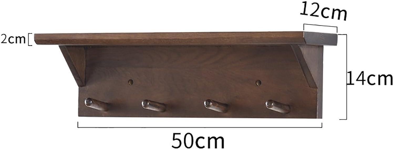 Coat Rack Solid Wood Coat Rack, Wall Hanging Wall Hanger, Wall Hanging Solid Wood Clothes Rack, Entrance Door Bedroom Porch Coat Rack (Size   50  12cm)