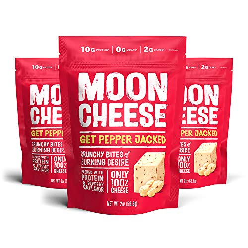 Moon Cheese, Get Pepper Jacked, 100% Pepper Jack cheese, crunchy Low-carb 2 oz, Keto-Friendly, high protein snack alternative to protein bars, cookies, and shakes (Pack of 3)