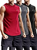 Neleus 3 Pack Workout Athletic Gym Muscle Tank Top with Hoods,5036,Black,Grey,Red,US M,EU L