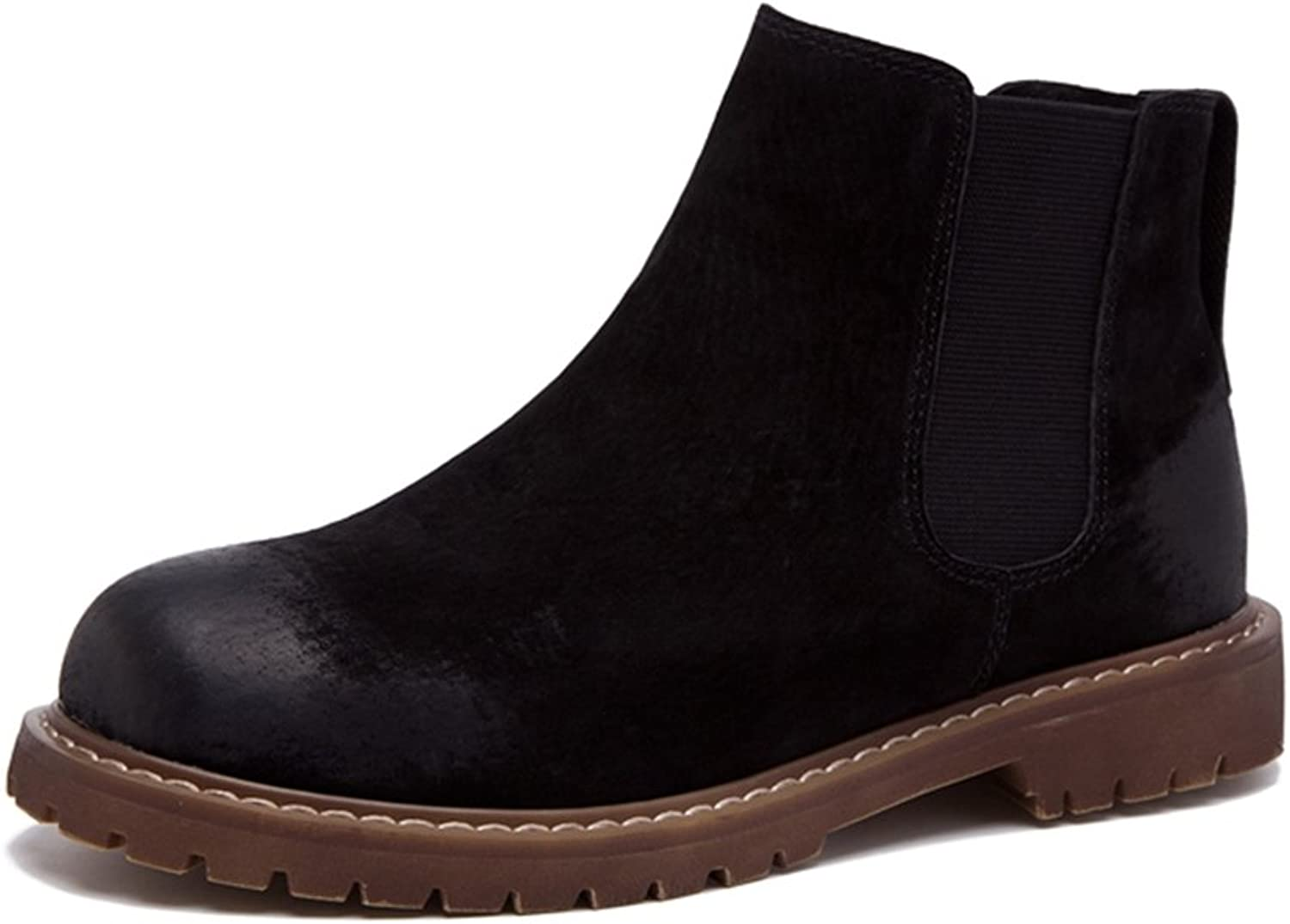 LL STUDIO Womens' Basic Simple Leather Casual Bootie shoes