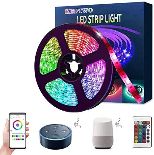 Tira LED Wifi 5 Metros, Luces LED Musica, 5050 RGB, Impermeable IP65, Funciona con Alexa, Google Assistant, Smartphone APP Android iOS, con Control Remoto,Receptor