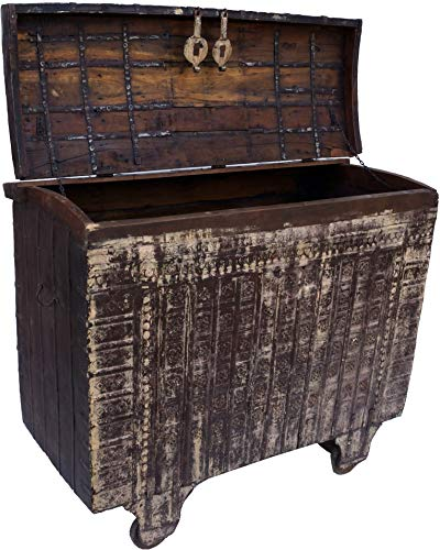 Guru-Shop Grote Indiase Huwelijkskist, Wielkast - Model 12, Bruin, 112x133x65 cm, Kisten, Dozen, Koffers