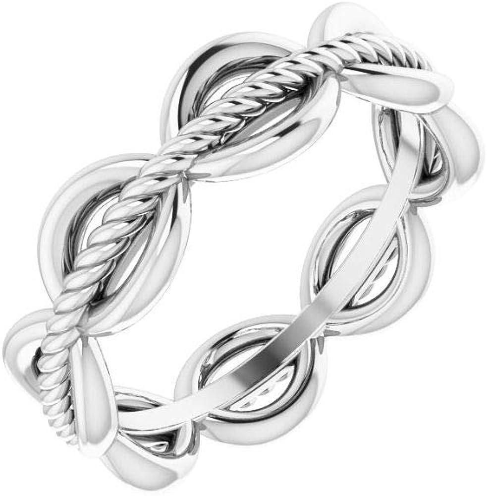 Rope Design Wedding Band Ring (Width = 5.2mm)