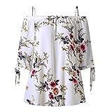 Bfmyxgs Fashion Womens Plus Size Blumendruck Kalte Schulter Bluse Lässige Tops Camis eine Schulter...