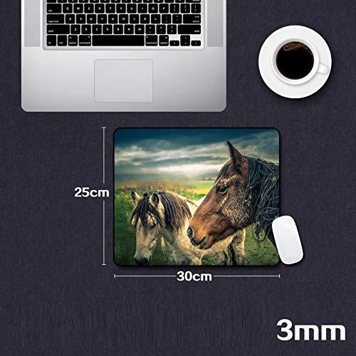 Alfombrilla de ratón Estera de juego para juegos Caballo Animal Alfombrilla de ratón Borde de bloqueo Tamaño grande Almohadilla de escritorio Material de caucho natural La impresión 300x250x3mm