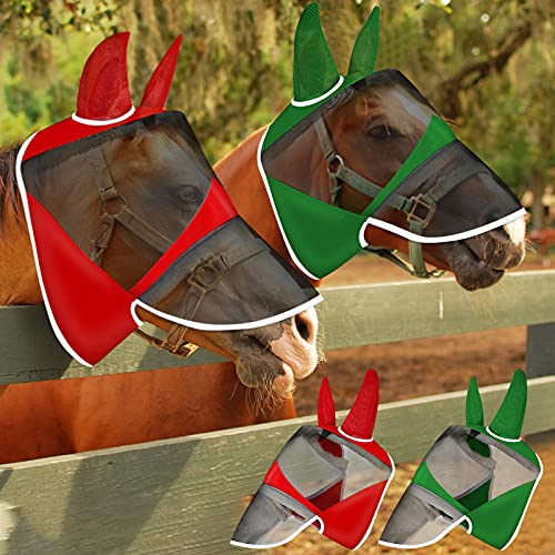 Frienda 2 Pieces Horse Fly Mask Horse Fly Covering with Long Nose and Ears Cover Horse Eye Protection Cover Soft Mesh Horse Mask for Horses