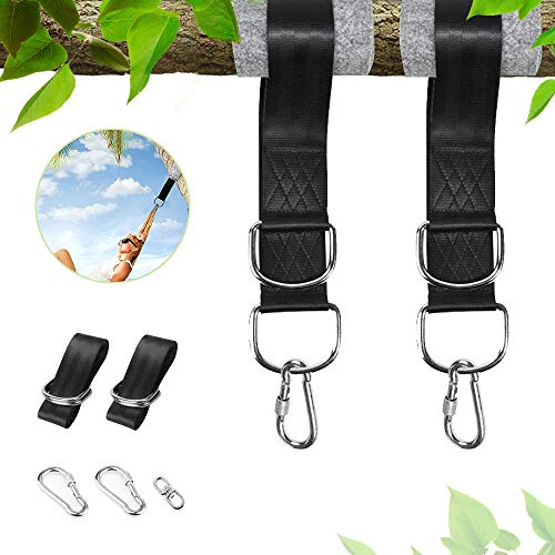 Tree Swing Hammock Straps Kit, Strong Hanging Straps (Set of 2) 59 inch long with Tree Protector Sleeves, Holds 2200 LBs, Perfect for Outdoor Camping Backpacking Patio Hammocks Kids Garden Swings