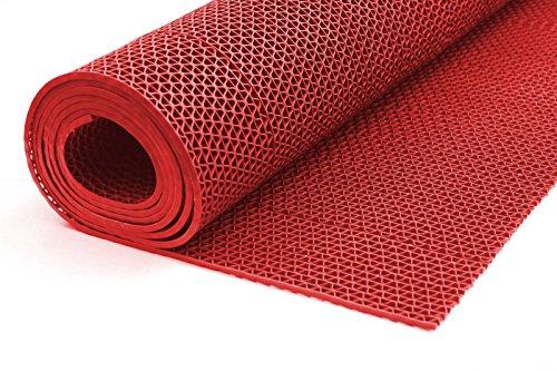 Gummiprodukt: PVC Bodenmatte für Sauna, Dusche usw. in 90mm oder 120mm Breite und 4 Farben (rot, 90cm)