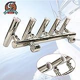 GWFISH Acier Inoxydable Support de Canne a Pêche, 5 Tube Pêche Réglable Rod Support pour Bateaux, Pêche Pôle 2' Stand Pince pour Rails 1 '' - 1-1/4 '' PEF