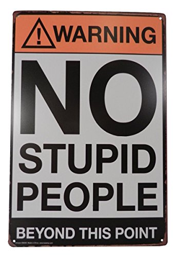 Warning No Stupid People Funny Tin Sign Bar Pub Garage Diner Cafe Home Wall Decor Home Decor Art Poster Retro Vintage