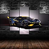 IKDBMUE Enmarcados para Decoración de Pared Coche de Carreras BT62 5 Piezas Pictures Posters Livin Room Paintings Modular
