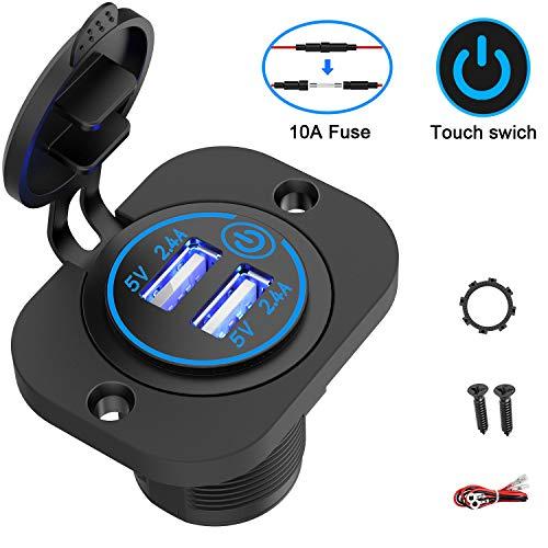 Qidoe Auto USB Steckdose 12V-24V mit Schalter, KFZ Ladegerät USB Einbau Buchse Wasserdicht Zigarettenanzünder Dose mit blau LED 5V 4.8A für Motorrad Boot LKW Wohnwagen ATV