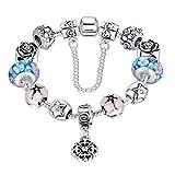 Wowl amor del corazón Segura cadena plateada plata pulseras del encanto de la flor azul de Lampwork encanto perlas pulseras con Austria Zircon