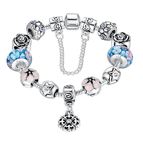 Wostu Damen Frauen Armband Charms Blau Beads