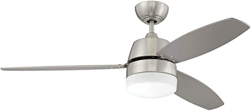 lowest Craftmade Ceiling Fan with outlet online sale LED Light BEL52BNK3-LED Belter 52 Inch and Wall Control, 2021 Brushed Polished Nickel online