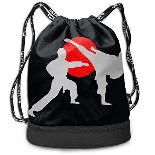 Sporttaschen, Rucksäcke,Fashion Outdoor Shopping Satchel Rucksack Backpack Bundle Pocket Drawstring Bag Daypack, Two Karate Fighter