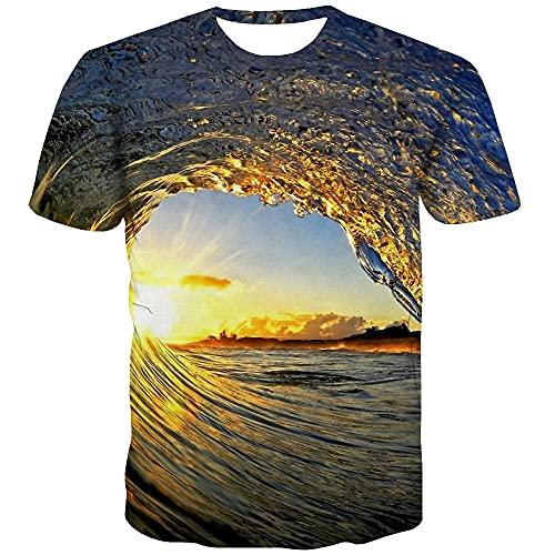 QQAQQ Unisex Camiseta,Mano 3D Camiseta Llama Cuello Redondo Moda Hombre