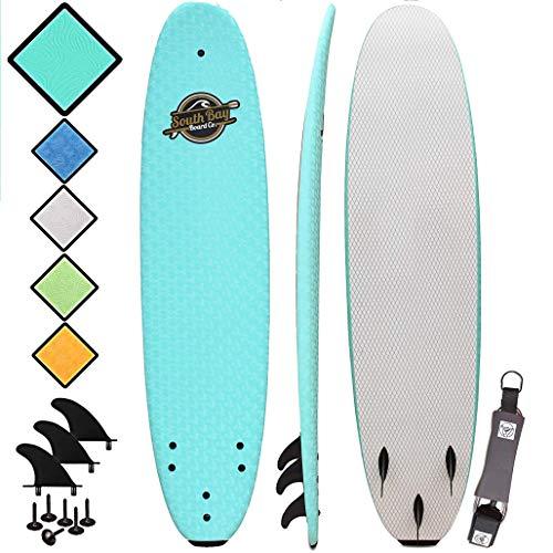 South Bay Board Co. - Premium Surfboard for Beginners – Wax-Free Soft-Top Foam Surfboard – 8' Verve - Aqua - Fins & Leash Included – Custom Beginner Shape for Easier, Better Surfing for Adults & Kids