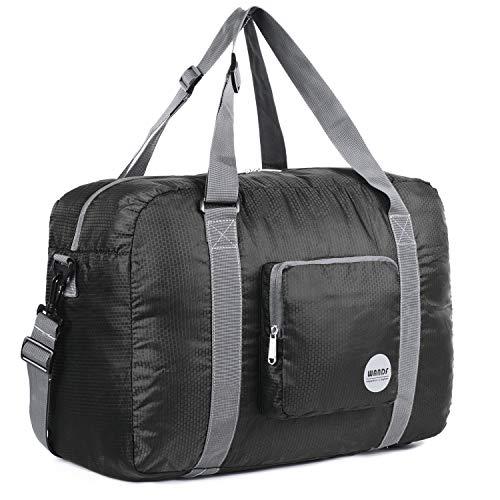 WANDF Leichter Faltbare Reise-Gepäck Handgepäck Duffel Taschen Übernachtung Taschen/Sporttasche für Reisen Sport Gym Urlaub Weekender handgepaeck (A-40L Schwarz)
