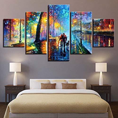 YXBNB 5 Pinturas consecutivas Impresiones en HD Decoración del hogar Pintura de la Lona Edificio Árbol Pareja Arte de la Pared Perro Paisaje Modular Imágenes Obra de Arte Cartel (Sin Marco) 40x60