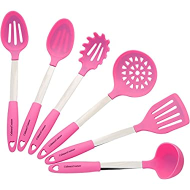 Light Pink Cooking Utensil Set - Stainless Steel & Silicone Heat Resistant Professional Kitchen Tools - Spatula, Mixing & Slotted Spoon, Ladle, Pasta Fork Server, Drainer - Bonus Ebook!