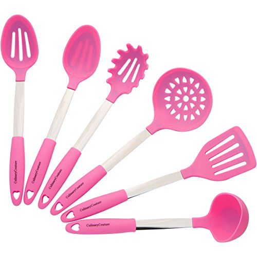 Culinary Couture Pink Cooking Utensil Set - Stainless Steel & Silicone Heat Resistant Professional Kitchen Tools - Spatula, Mixing & Slotted Spoon, Ladle, Pasta Fork Server, Drainer - Bonus Ebook
