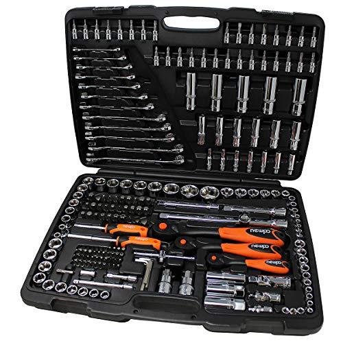 newpo 216-teiliger Steckschlüsselsatz | Werkzeugkoffer Steckschlüssel Schraubenschlüssel Werkzeugkiste