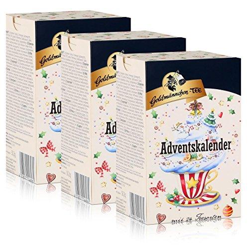 Goldmännchen-Tee Adventskalender mit 24 Teesorten 50g (3er Pack)