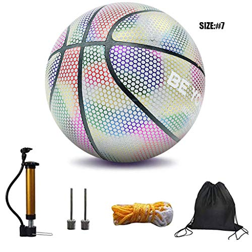 Affordable Anyren Holographic Glowing Reflective Basketball, Luminous NO.7 Standard Basketball Flash...