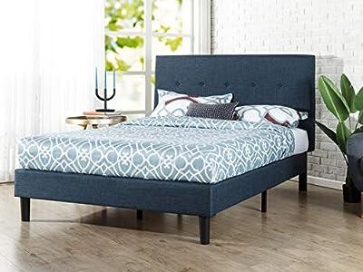 Esta cama de plataforma tapizada clásica de transformará tu dormitorio. Se envía en una sola caja con el bastidor, las patas y los diez listones de madera metidos en el compartimento con cremallera de la parte posterior del cabecero para facilitar el...