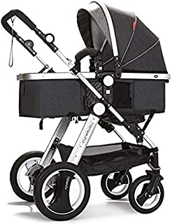Belecoo Baby Stroller for Newborn and Toddler - Convertible Bassinet Stroller Compact Single Baby Carriage Toddler Seat Stroller Luxury Stroller with Cup Holder (Linen Black)