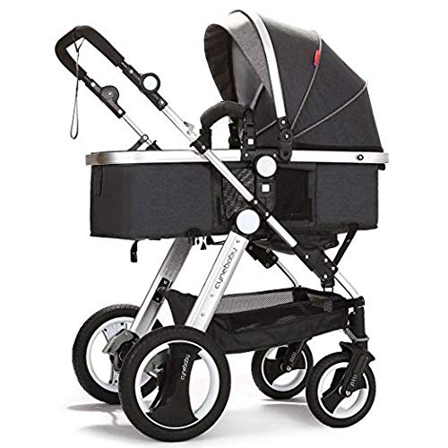 Buy Belecoo Baby Stroller for Newborn and Toddler – Convertible Bassinet Stroller Compact Single Baby Carriage Toddler Seat Stroller Luxury Stroller with Cup Holder (Linen Black)