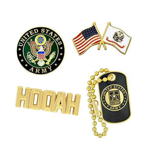 PinMart USA Army Military Patriotic Dog Tag Hooah Enamel Lapel Pin Set
