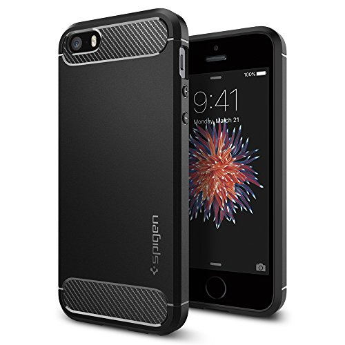 Spigen Funda iPhone Funda iPhone 5S / 5 [Rugged Armor] Resilient [Black] Ultimate Protection & Rugged Design with Matte Finish, Funda Apple iPhone 5SE / 5S / 5 / SE (041CS20167)