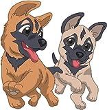 Bambinella® Bügelbild Aufbügler - gedruckte Velour/Flock Applikation zum selbst Aufbügeln - Motiv: Hund Malinois - gefertigt in eigener Werkstatt in Neuhof/Deutschland