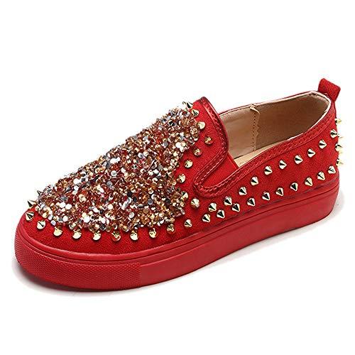JXILY Zapatillas Mocasines Zapatos Planos de Lentejuelas con Tachuelas Zapatillas de Skateboard Calzado Transpirable al Aire Libre,Rojo,35
