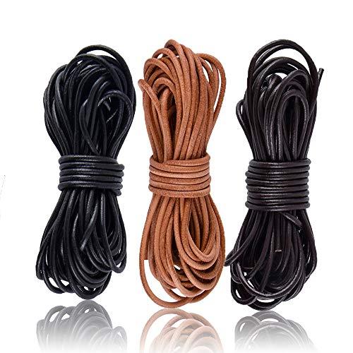 SOSMAR 3 rollos de 5 m x 2 mm de cuero de vacuno redondo de cuerda de cuerda para pulseras, collares y bisutería, manualidades, negro, marrón oscuro, marrón natural