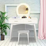 Vanity Set with LED Mirror Dressing Table with Cushioned Stool with 2 Drawers, White