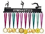 ULwysd Sports Medal Hanger Display Holder Hook Rack for 40 Medals - Gymnastics (16' Wide with 20 Hooks) - Black- Awesome Gifts