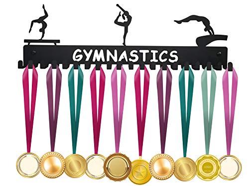 ULwysd Medaillenhalter für 40 Medaillen – Medaillenständer mit 20 Haken, Gymnastik, Schwarz