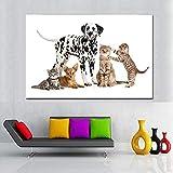 QZROOM Perro Madre y Sus Hijos Pintura al óleo Pintura Decorativa Lienzo Gatos Estampado Animal Boston Terrier Pintura de Pared Arte -60x90cm Sin Marco