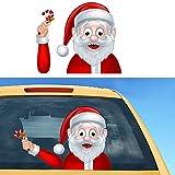 HuSang Pegatinas de coche y calcomanías de Navidad para limpiaparabrisas, pegatinas de Papá Noel, pegatinas impermeables para decoración de coche (Santa Stickers-4)