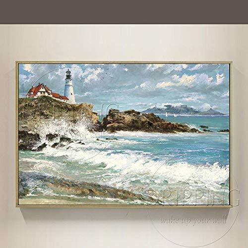 ZHUAIBA Al Óleo Pintada A Mano Decorativo Artista Pintado a mano Pintura al óleo moderna de alta calidad del paisaje marino del mar en la lona Pintura al óleo del faro de la playa para la sala de es