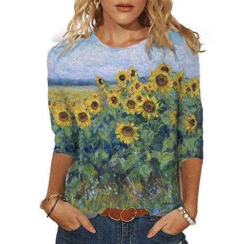 LAIYIFA Camisetas para mujer con estampado paisajístico, casual, cuello redondo, blusa de manga larga, suelta, para primavera/otoño/invierno, para la parte inferior
